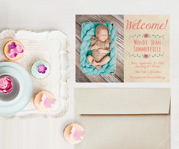 Boho chic bohemian baby announcement