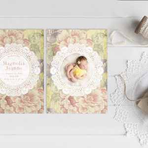 Vintage yellow flower doily baby announcements