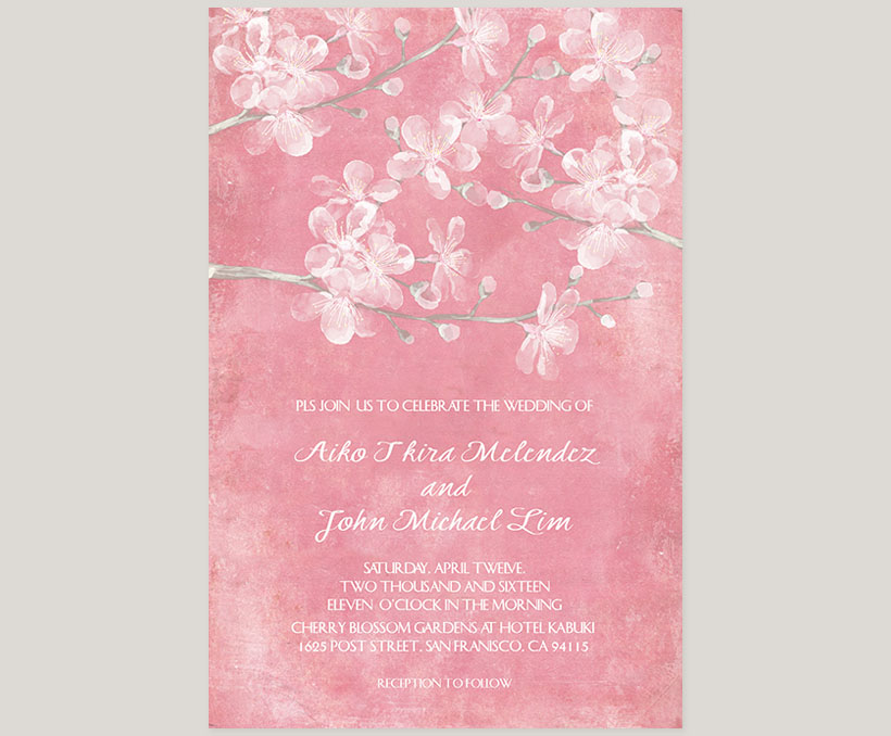 Pink cherry blossom watercolor wedding invitations - The Aiko | the ...