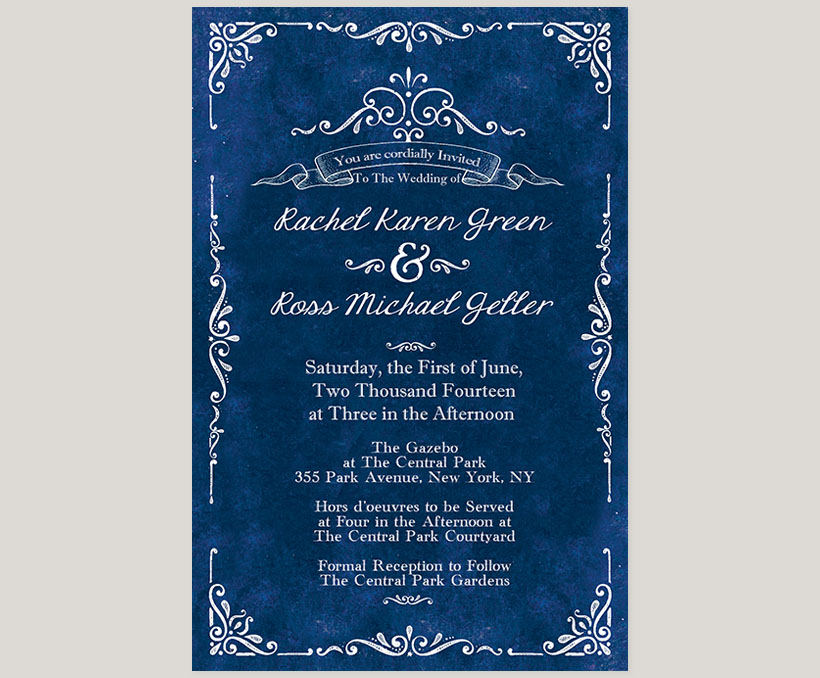Vintage-inspired royal blue wedding invitations - THE RACHEL | the ...