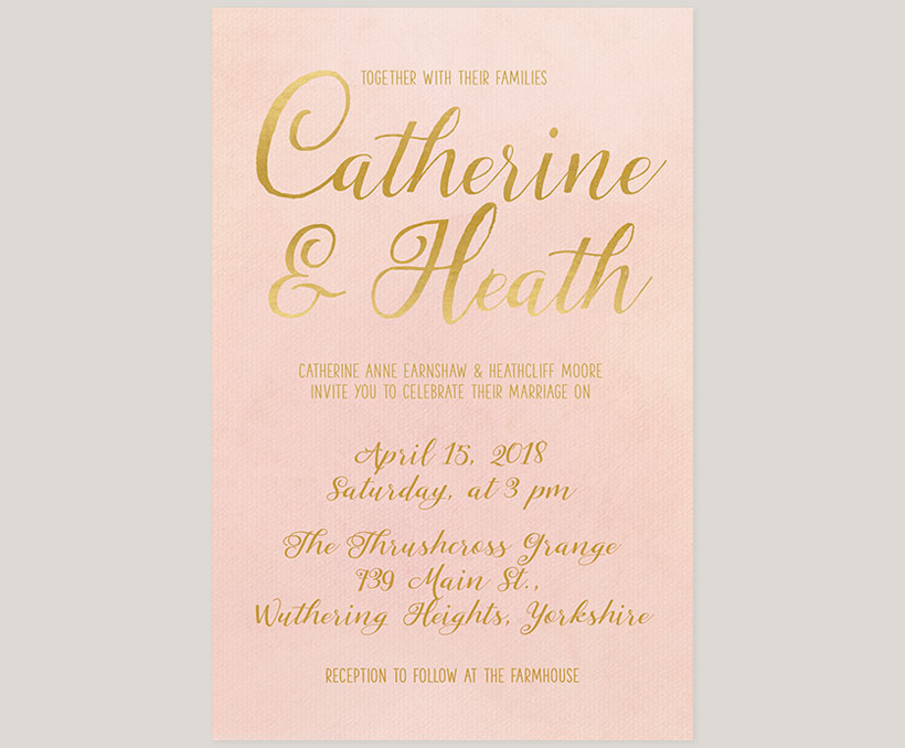 Blush & gold watercolor wedding invitations - THE CATHERINE | the ...