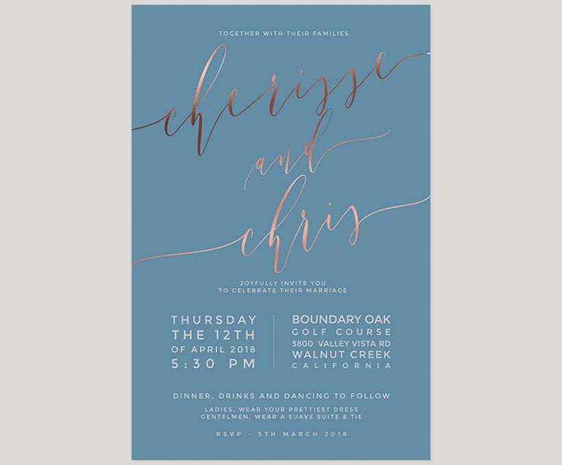 Niagara blue & rose gold calligraphy wedding invitations - THE ...
