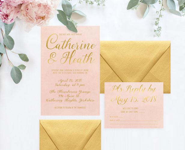 Blush U0026 Gold Watercolor Wedding Invitations