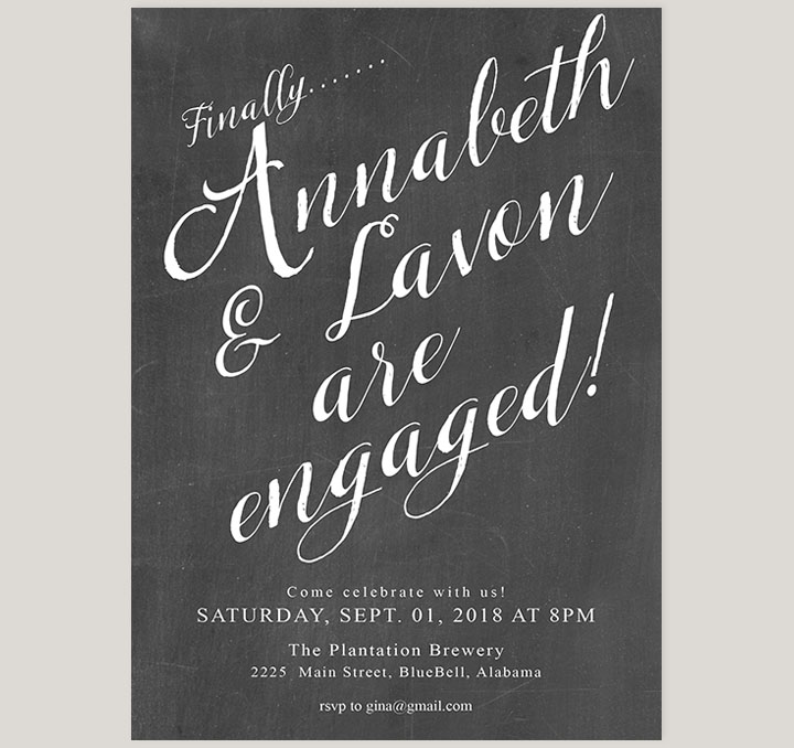 Southern Charm Chalkboard Engagement Party Invitations - The ...