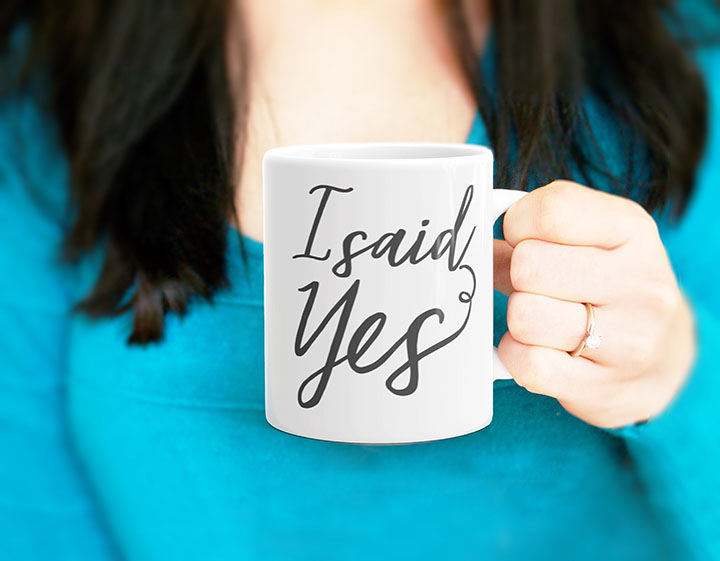 engagement announcement coffee mug