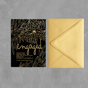 Metallic Gold Flowers on Black Engagement Party Invitations