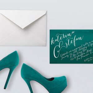 Teal Green Watercolor Calligraphy Engagement Party Invitations