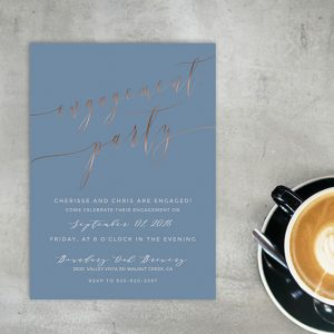 Rose Gold Calligraphy Niagara Blue Engagement Party Invitations