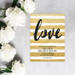 Metallic gold stripe watercolor engagement party invitations