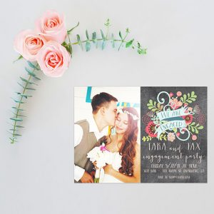 Boho chic bohemian flowers engagement party invitations