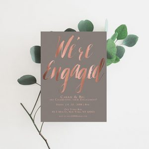 Grey & rose gold calligraphy engagement party invitations