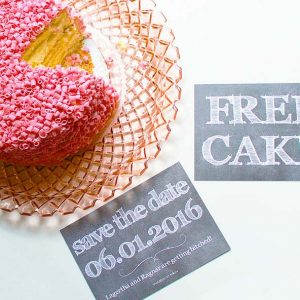Free cake chalkboard save the date cards