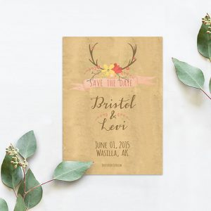 Rustic chic flower antler save the date cards
