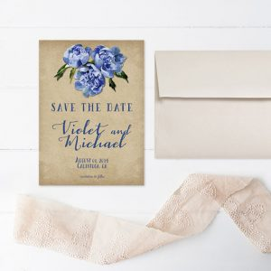 Rustic chic blue flowers save the date cards