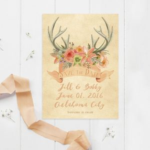 Rustic chic peach floral antler save the dates