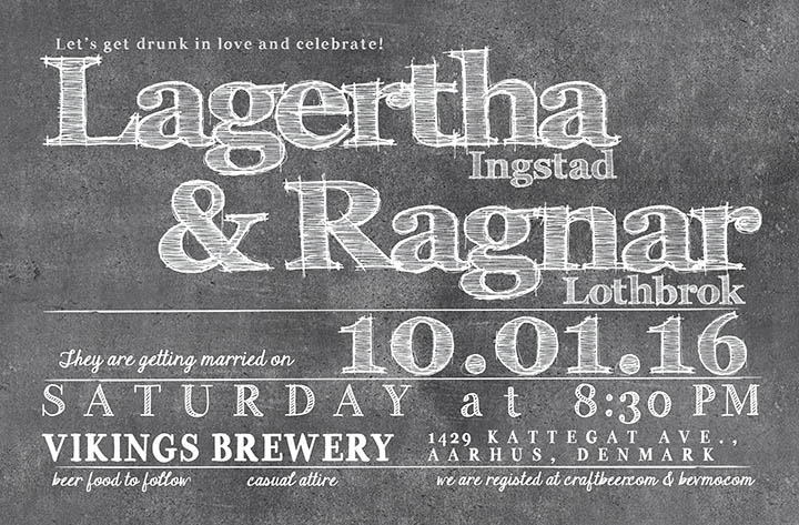 Funny free food chalkboard wedding invitations The Lagertha the