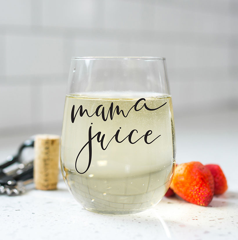 mothers day mama juice wine glass