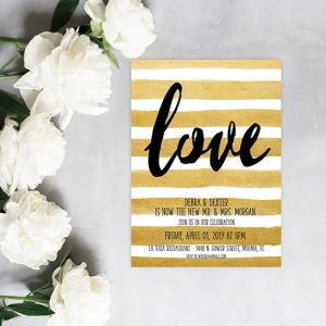 metallic gold watercolor brush stripes wedding announcements