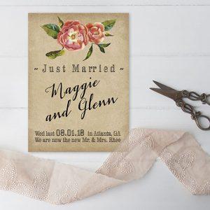 vintage flower grunge wedding announcement cards