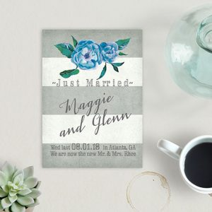 cottage chic grey stripes wedding announcement cards