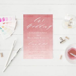 coral pink ombre watercolor wedding invitations