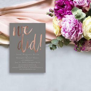 rose gold calligraphy brush on taupe wedding announcement cards