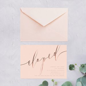 Rose gold calligraphy on blush wedding elopement cards