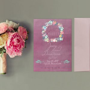 cottage chic mauve wedding announcement elopement cards