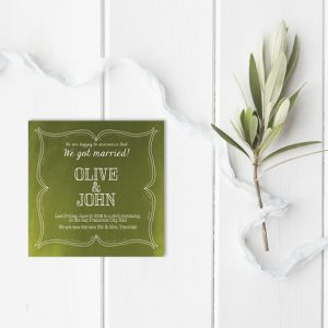 olive green square wedding announcement or elopement cards