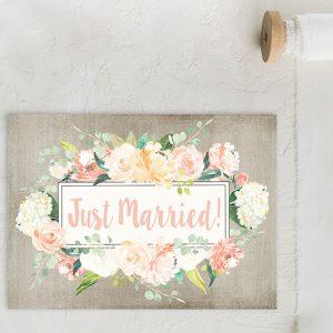 watercolor flowers on grey wedding elopement cards