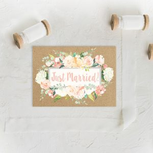 rustic chic flowers on kraft wedding announcement elopement cards