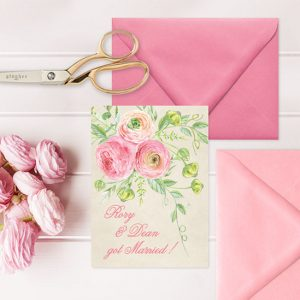 coral pink & blush ranunculus watercolor wedding announcements