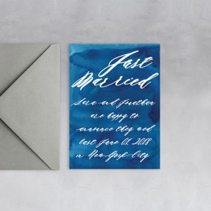 indigo blue watercolor wedding announcement elopement cards