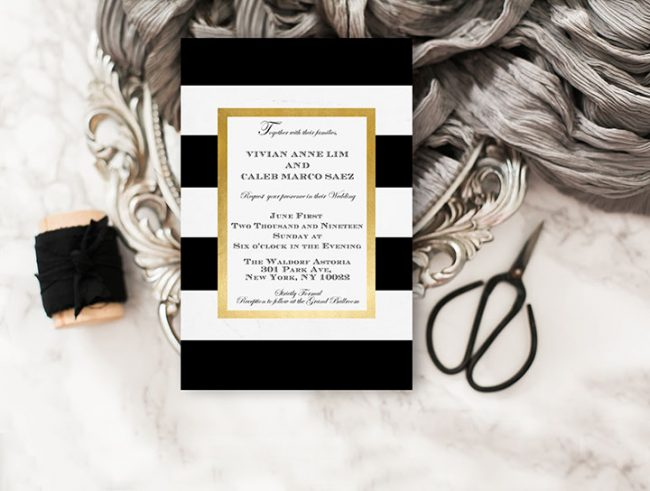 Black and white stripes w/ gold frame wedding invitations - THE THE ...