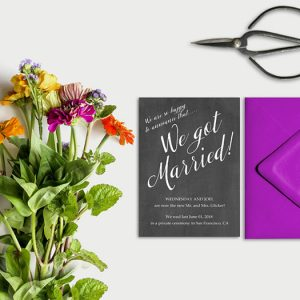 Chalkboard calligraphy wedding announcement cards