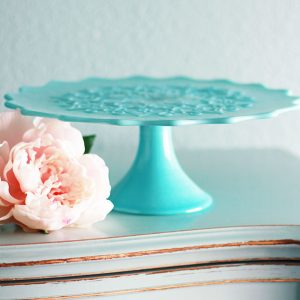 Vintage Turquoise Spanish Lace Milk Glass Cake Stand