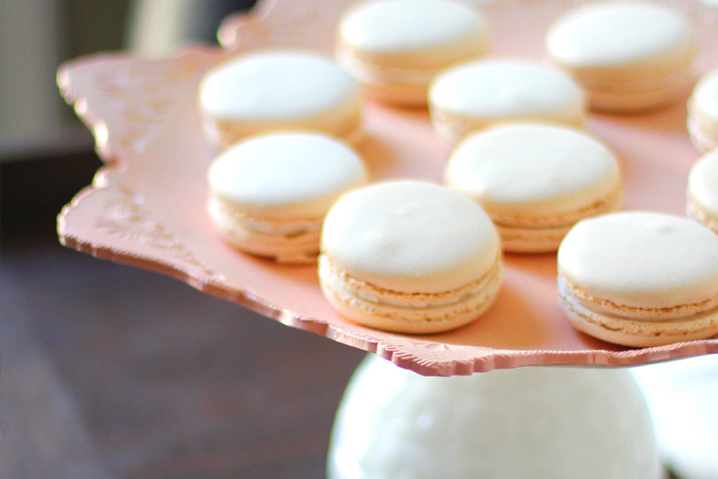 Bouchon Macarons on Peach Wedding Cake Stand