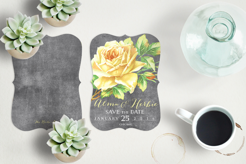 The Alma Save the Date Cards in bracket shape chalkboard