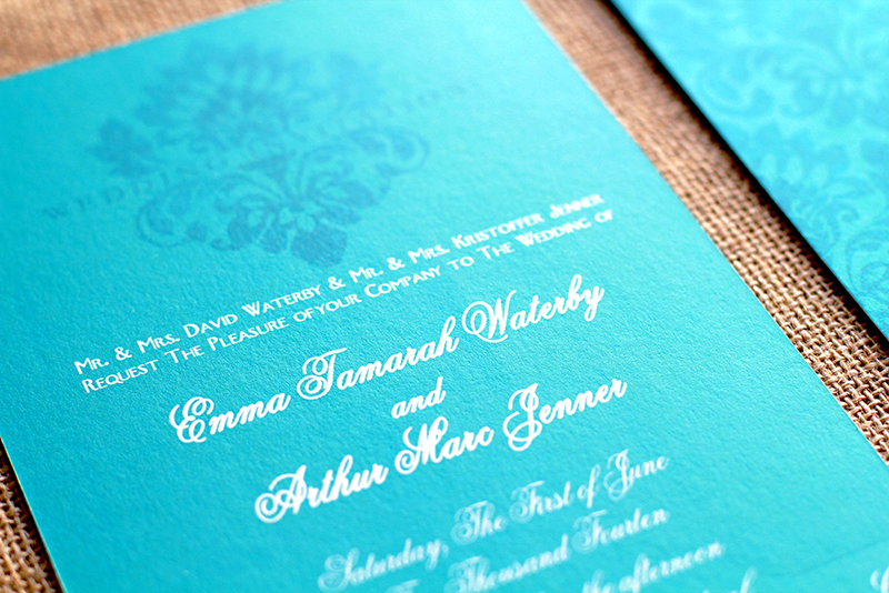 The Emma Wedding Invitation, shown on our 130# thick uber luxurious cotton cardstock.