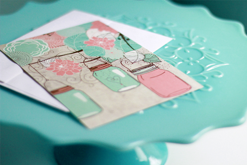 The Felicity Wedding Invitation on Turquoise spanish lace cake stand
