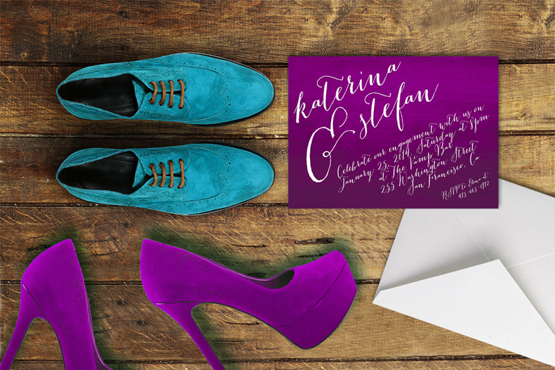 The Katerina Engagement Dinner Invitation on watercolor paper.