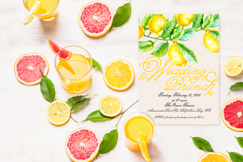 The Kris Wedding Brunch Invitation - Lemon Design