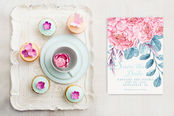 The Margaery Save The Date Card with peonies