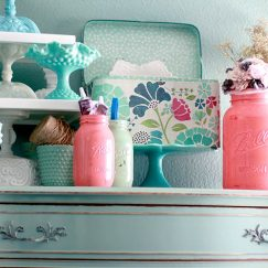 milk glass & mason jars on dresser - etsy shelfie