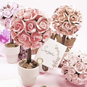 flower topiary garden party favors