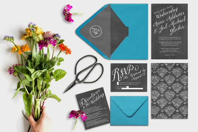 Chalkboard damask wedding invitations