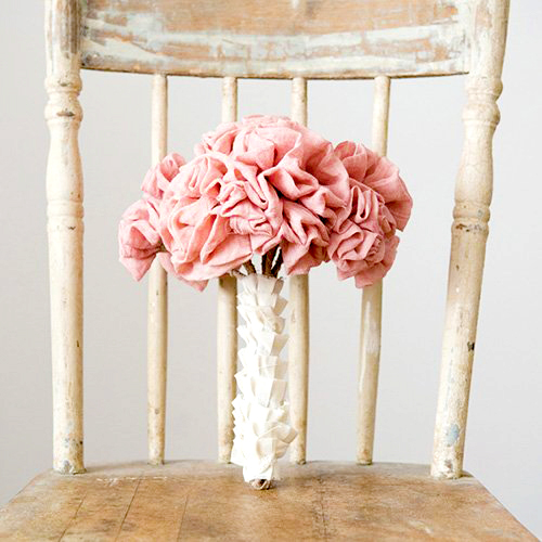 party decorations- fabric ruffle flowers