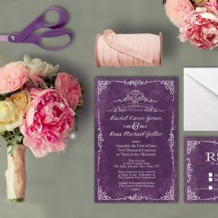 The Rachel Wedding Invitation Suite - Purple Invitations - Invite and RSVP Card