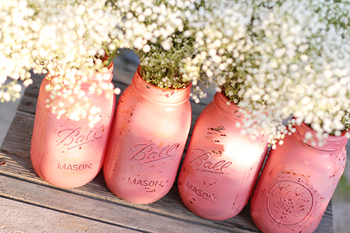 Distressed & Painted Mason Jars - Coral Pink