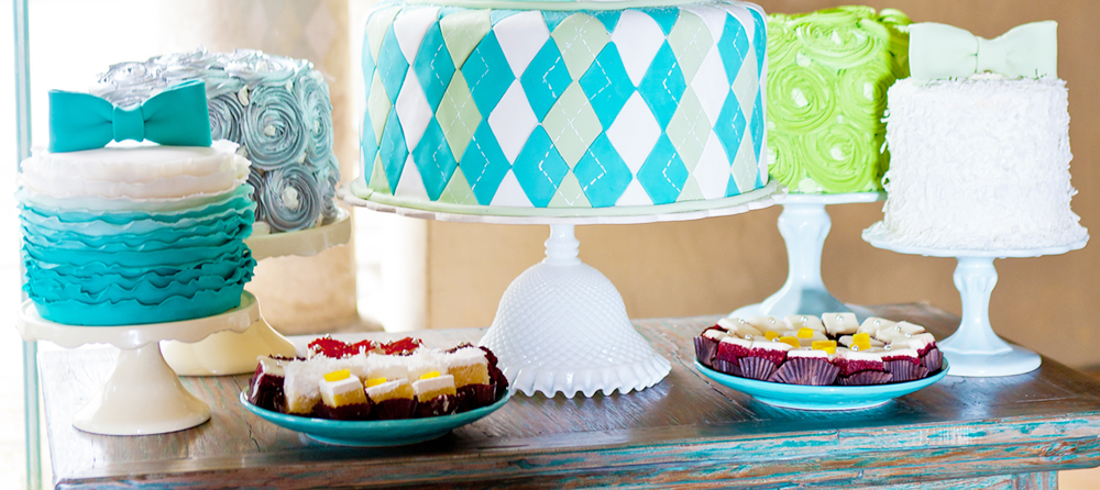 cake stands on dessert table